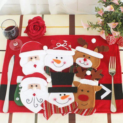 Decoraciones Navideñas para Cubiertos Estilo Santa Claus
