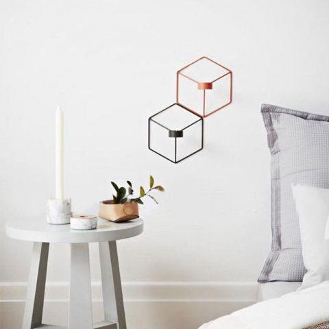 Vela 3D Geométrico de Metal Diseño Nórdico