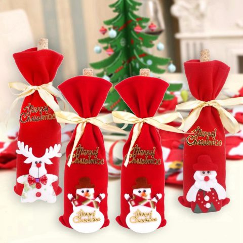 Cubierta para Botellas de Vino Decoración de Navidad