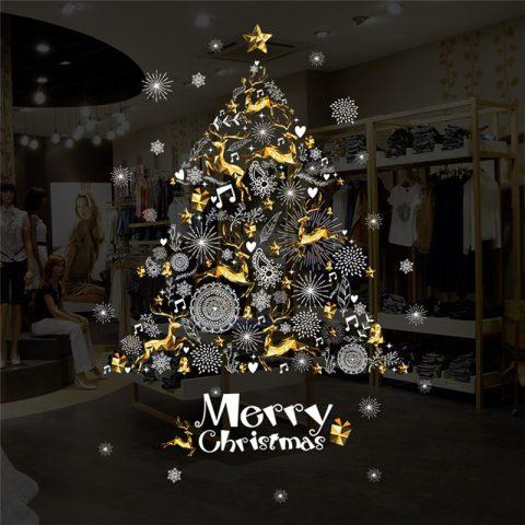 Pegatina para Ventana con Árbol de Navidad y Merry Christmas 60×90 cm