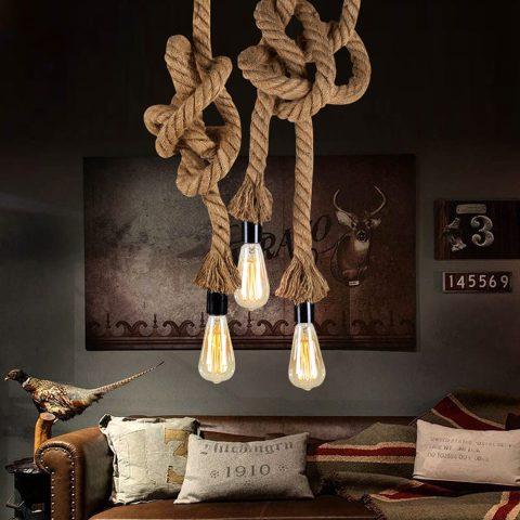 Lámpara Colgante Vintage de Cuerda de Cáñamo Tipo Industrial